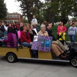 Riding in parade enroute to receiving the William Allen White Award.